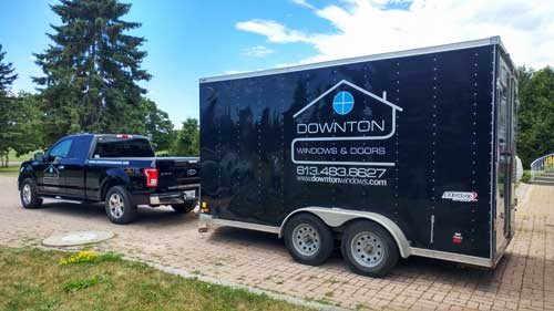 Downton Windows and Doors truck with trailer